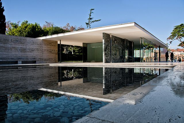 The Barcelona Pavilion by Mies van der Rohe.