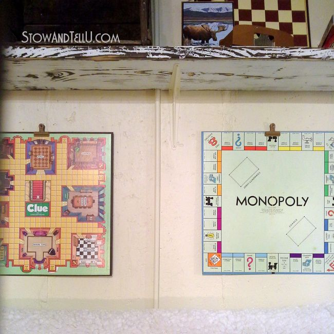 Hang up board game art in your basement or game room with this easy method that allows you to take the boards down at any time for play : Easy Way to Hang Board Game Art