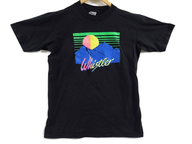 VTG 90s Whistler BC Tourist T-Shirt - Large - Neon - Oneita - British Columbia Canada - Skiing - Snowboarding Vintage Tee Vintage Clothing - by BLACKMAGIKA on Etsy