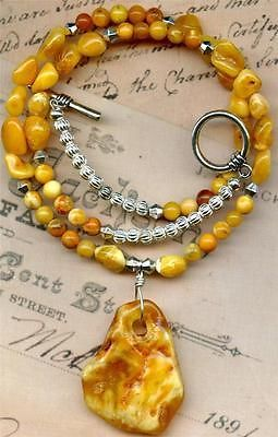 """Baltic Amber Bead Necklace w Amber Pendant Genuine Natural 19"""" 