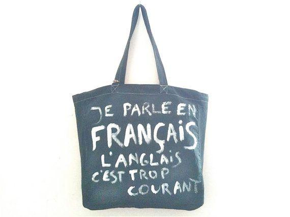 Je Parle En Français Big Bag / My Little by MyLittleFrenchShop, $89.00