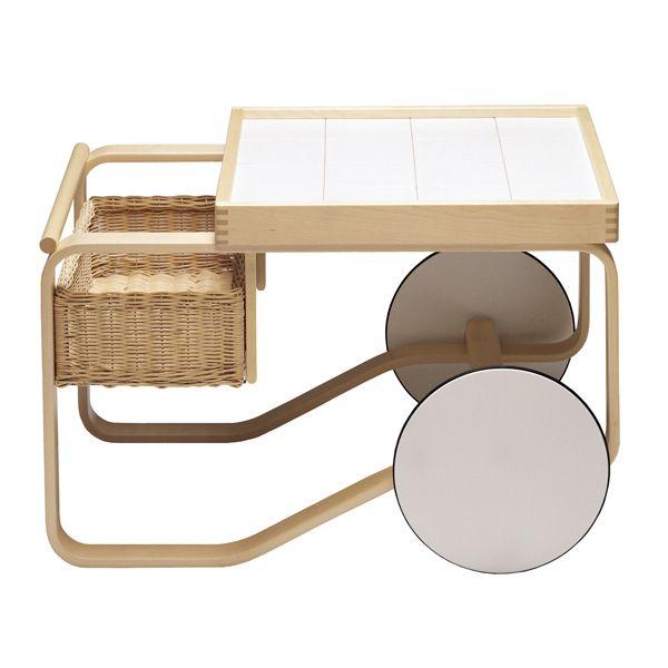 Aalto 900 tea trolley, white, by Alvar Aalto.