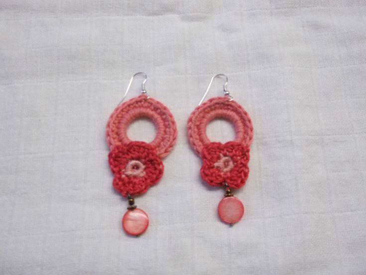 Crochet flower earings