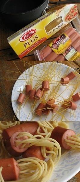 thread 5-7 pieces of thin spaghetti thru hotdog pieces. Boil til al dente - about 6 minutes.