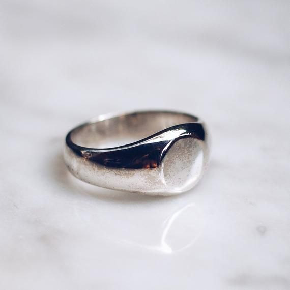 Flat Face Ring Silver Simple Ring For Women Minimalist Ring