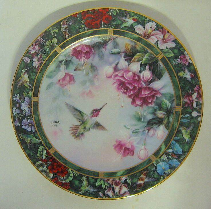 Lena Liu Fushia Anna's Hummingbird Plate Bradford 19395G