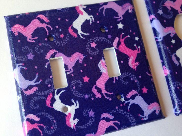 Unicorn Light Switch Cover / Double Light SwitchPlate Cover / Unicorn Nursery Decor / Pink Unicorn Decor / Unicorn Bathroom / Purple Decor by COUTURELIGHTPLATES on Etsy https://www.etsy.com/listing/250816160/unicorn-light-switch-cover-double-light