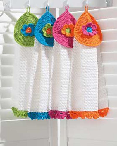 Pretty Flowers Tea Towels: free #crochet pattern