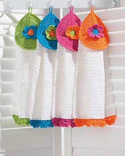 Pretty Flowers Tea Towels: free #crochet pattern