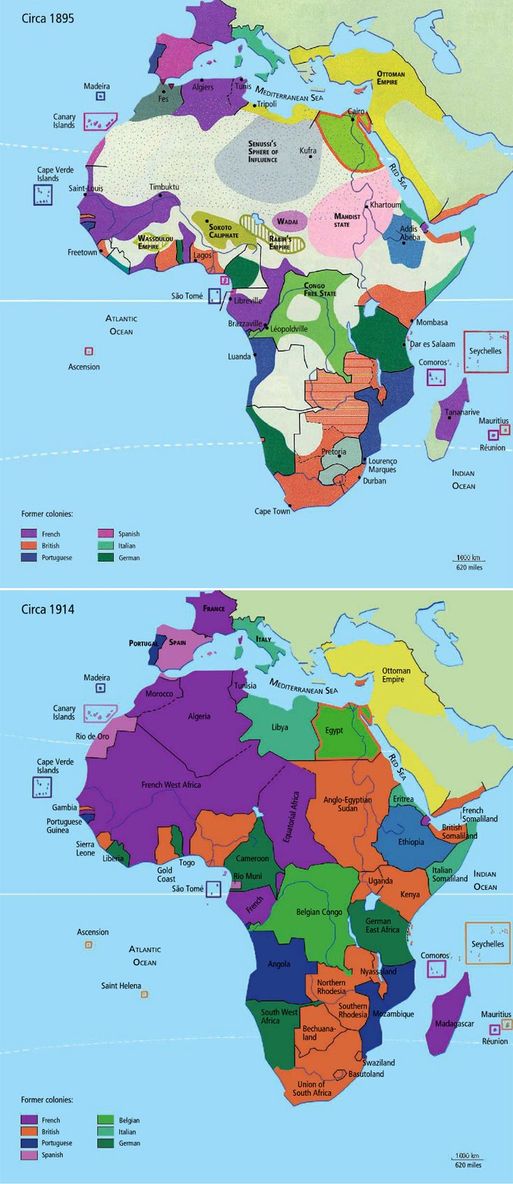 Africa: changes of foreign occupation from ca. 1895 to ca. 1914. Source ~ http://issuu.com/yahzoo/docs/african_art_-_maurice_delafosse