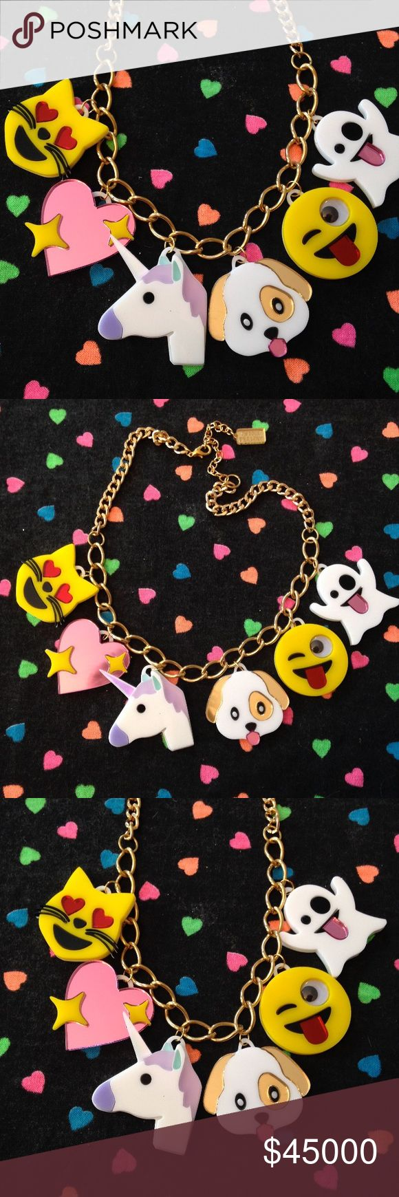 "Emoji Love Acrylic Charm Necklace The 1.5"" charms for this necklace have been laser cut out of a mix of glitter, mirror, and opaque 1/8"" acrylic sheets all backed with a thinner 1/16"" thick white acrylic. The necklace hangs from a thick, gold chain that measures 16"" long with a 3"" extender chain.   ⭐️Like to be notified of arrival via price drop.   ♠️No trades ♠️Bundle & save! ♠️Please negotiate through offer button I'm Your Present Jewelry Necklaces"