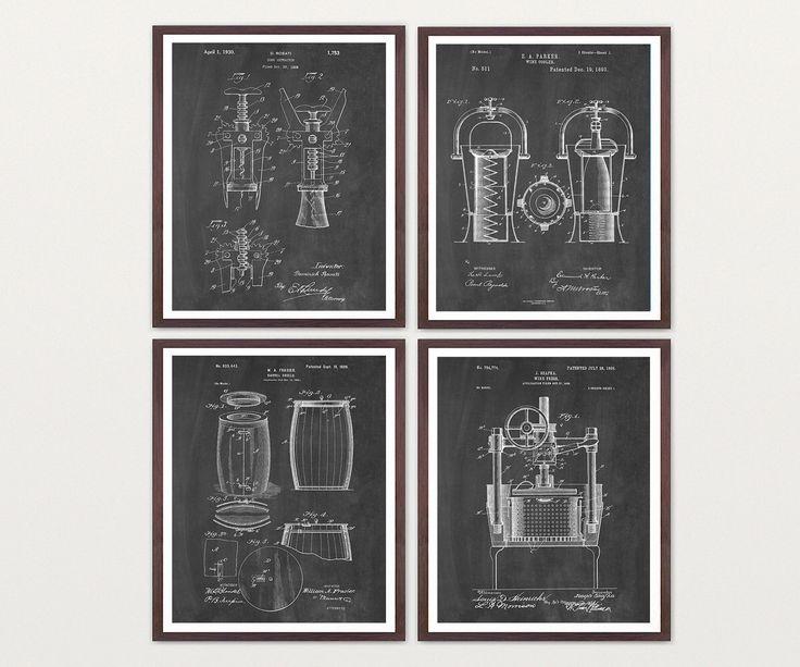 Inventions Of Wine Patent Print Suite   Wine Patent   Wine Art   Wine Wall  Art