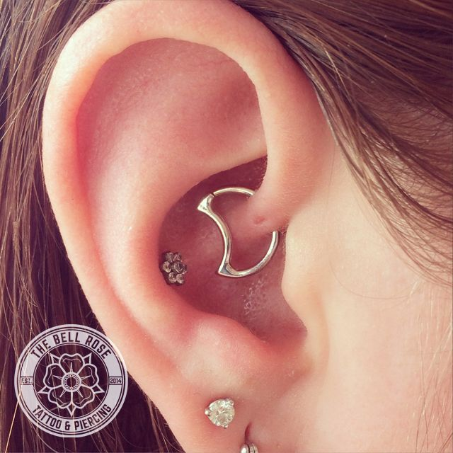 Daith piercing done by Aaron Victory at The Bell Rose Tattoo & Piercing in Daphne, Alabama.