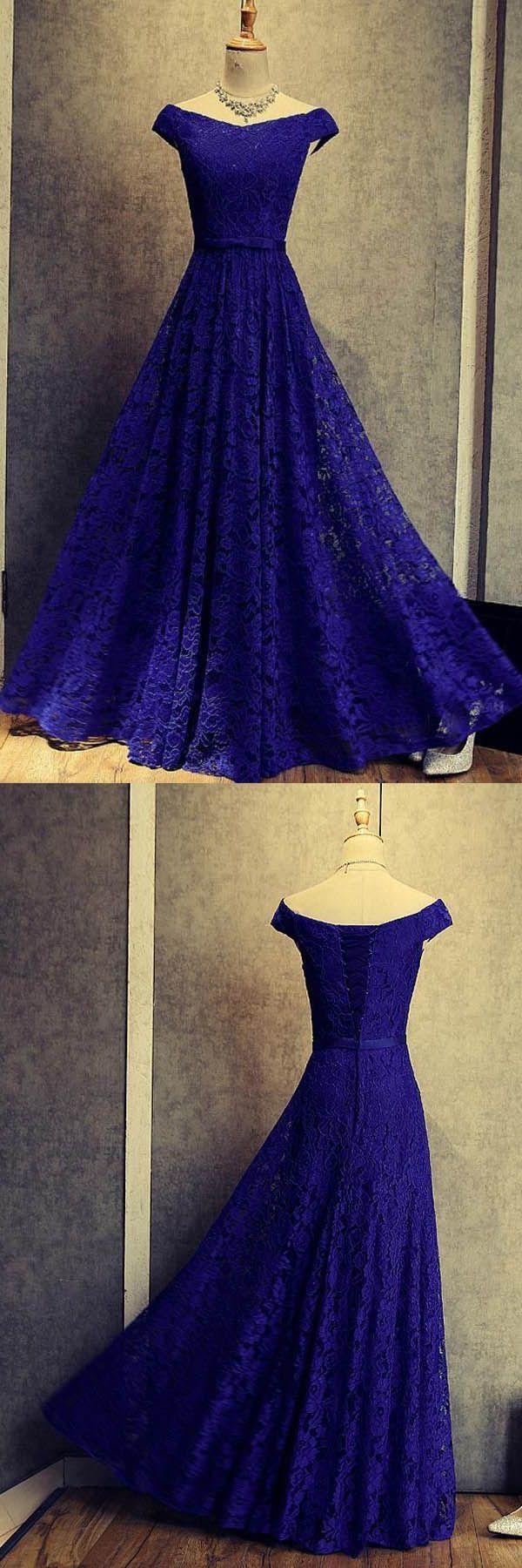 , Royal Blue  Dresses, Lace Prom Dresses, Lace Prom Dresses 2018, Blue Prom Dresses,