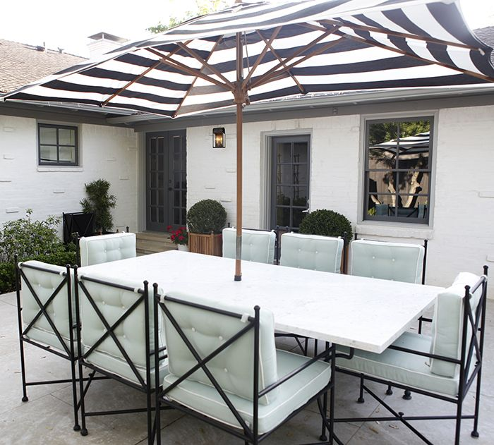 Knight Moves: Outdoor Punch List: custom iron set with carrera top, sunbrella fabric