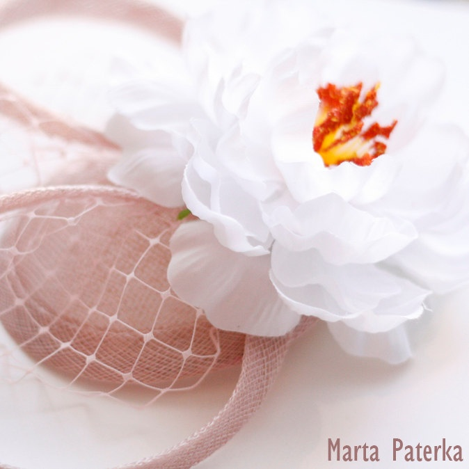 Pastel Pink Sinamay Fascinator Hat with Flower. $37.00, via Etsy.