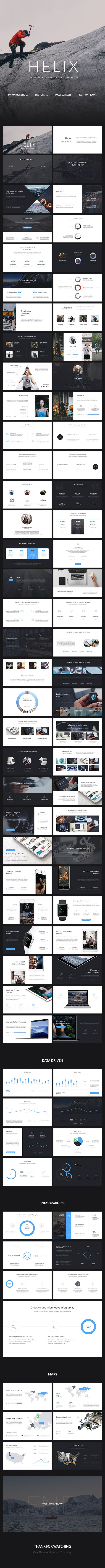 Helix PowerPoint Presentation  #deck #design #digital • Available here →…