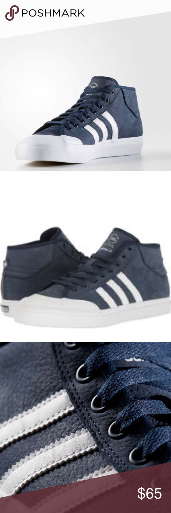 Adidas Matchcourt Mid Mid height. Brand New in Box. Never even tried on. Rubber soles. Soft smooth leather. Navy blue and white stripes. Men's 13. adidas Shoes Sneakers