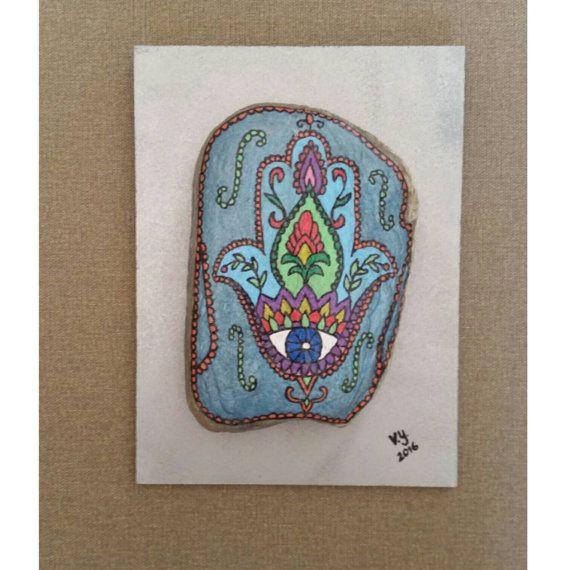 Main Hamsa, murale décor, Pierre de protection de mauvais œil, Pierre Judaica, art Judaica, peint de Pierre, rochers peints, décoration, cadeau Cool pour elle