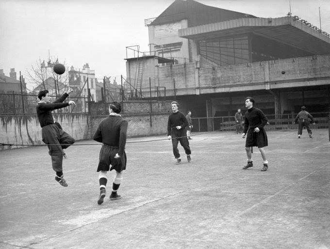 Arsenal Players Train in the Exercise Yard Next to Highbury 1952.