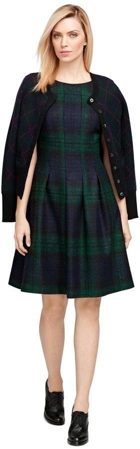$650, Brooks Brothers Wool Plaid Dress. Sold by Brooks Brothers. Click for more info: https://lookastic.com/women/shop_items/349808/redirect