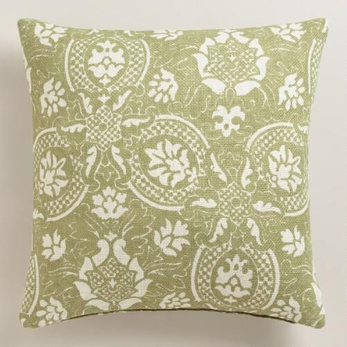 One of my favorite discoveries at WorldMarket.com: Green Floral Jute Throw Pillow