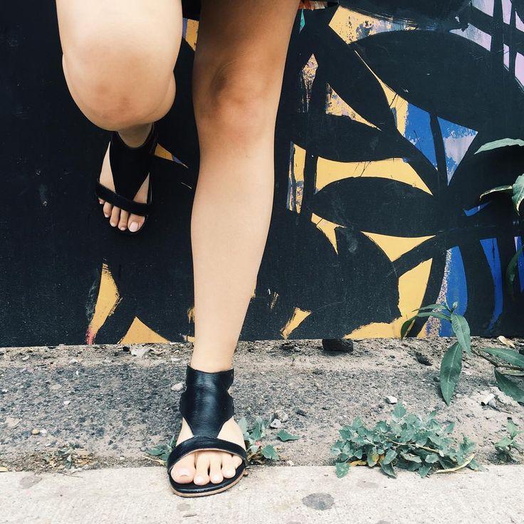 Gladiator style black leather sandals