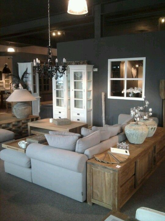 Beautiful Living Room... Grey, White and light wood with accents of black.: