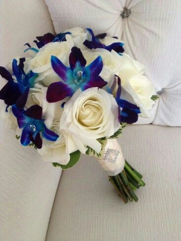 Lovely Wedding Bouquet Which Features: Blue Dendrobium Orchids, White Roses, Green Foliage, Hand Tied With Ivory Ribbon + Crystal Bouquet Brooch****