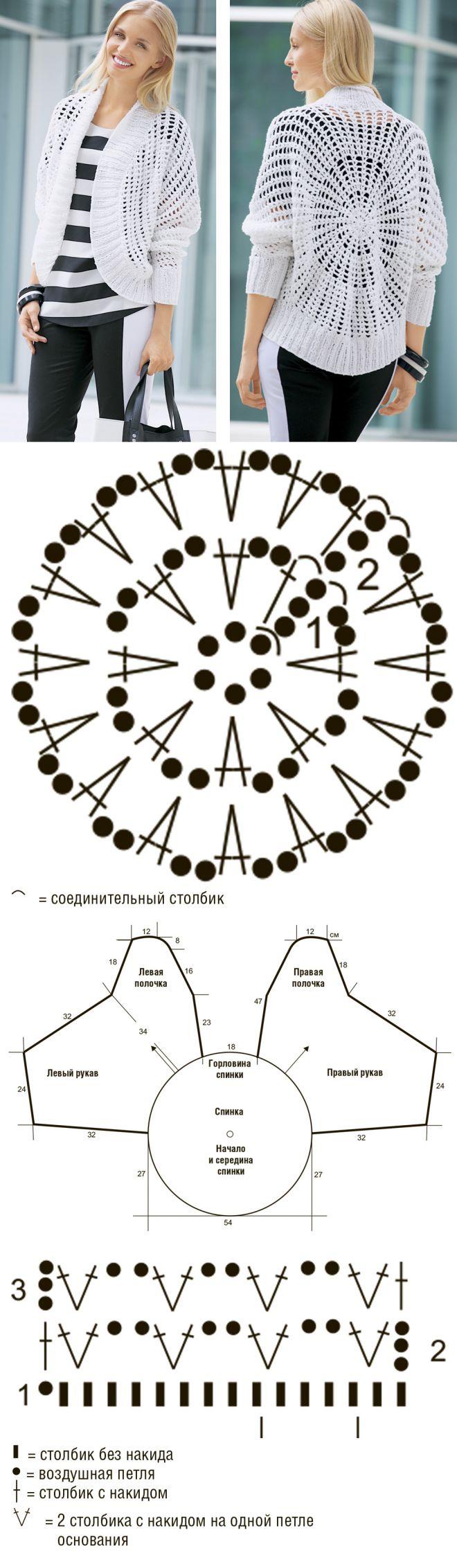 схема вязания крючком кардигана для начинающих