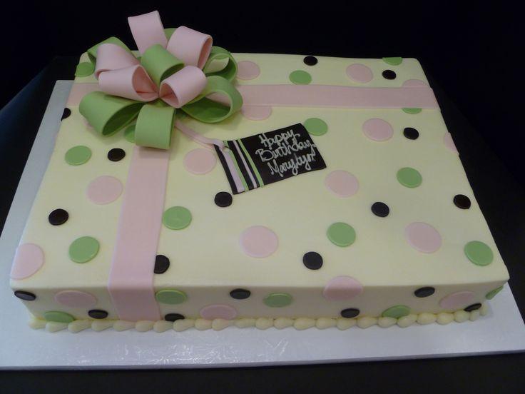 Pink And Green Polka Dot Sheet Cake. Baby Shower ...