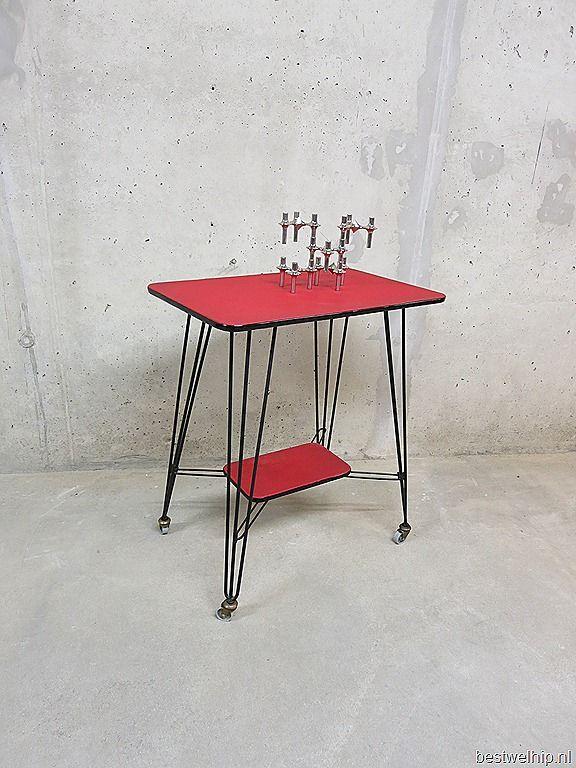 Industrial vintage side table, vintage bijzettafel industrieel
