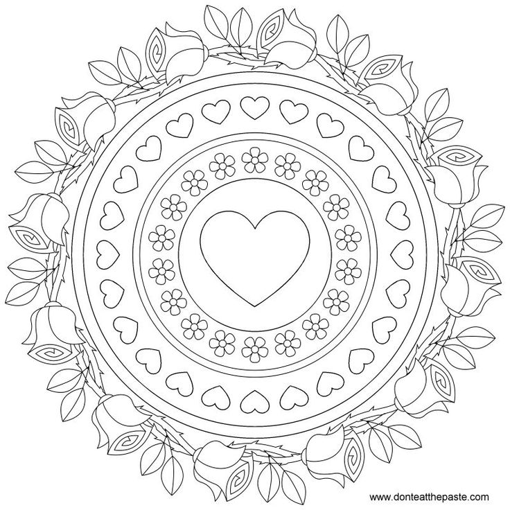 roses and forget me nots mandala to color