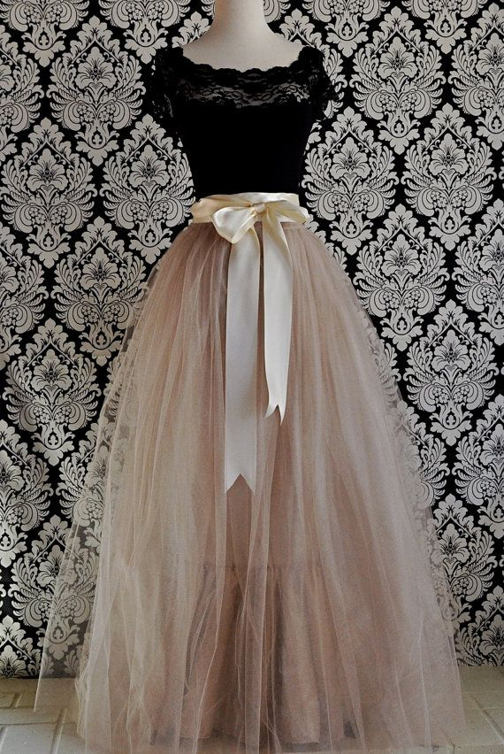 Full length champagne tulle skirt champagne tulle lined for How to make a long tulle skirt for wedding dress