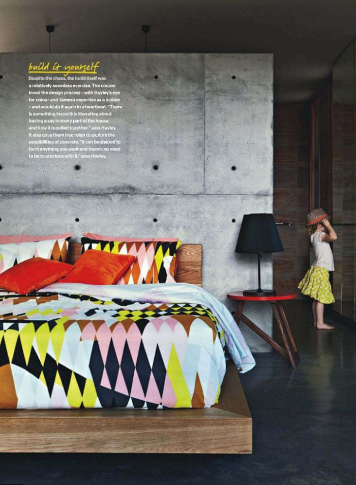 Poppytalk - The beautiful, the decayed and the handmade: Sunday Reading - concrete wall + colorful bedding