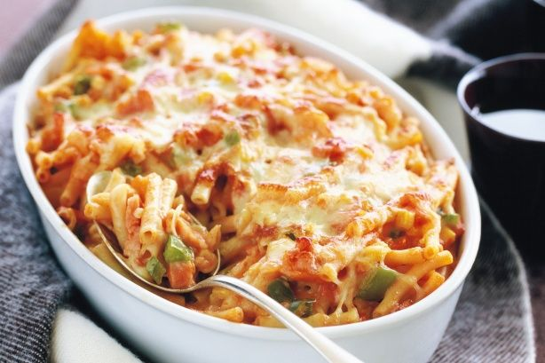 Just a few staple pantry items and some extras are needed to create this very simple cheese and tomato macaroni bake.