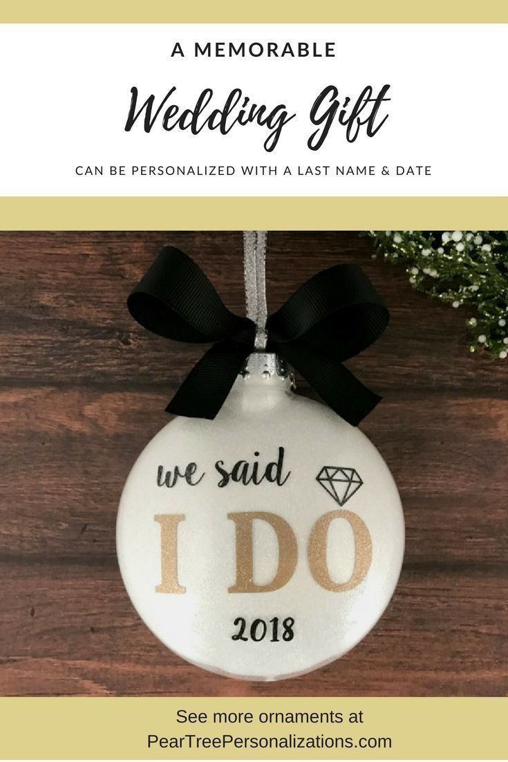 Newlywed Gift Our First Christmas Ornament Married Personalized with Couples Name and Year
