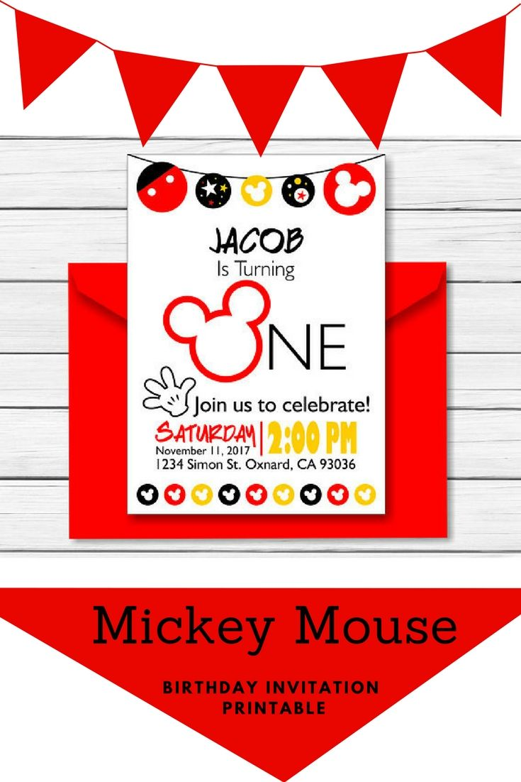 Mickey Mouse Birthday Invitation One Year This Cute Personalized