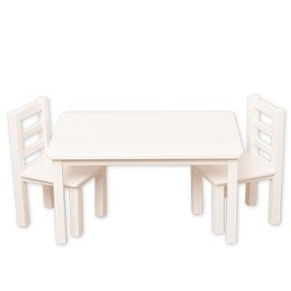 """Table and Chairs Set: Think of all the ways of playing when your doll has her own table and set of two chairs! The four-legged, white wooden table measures 40 cm x 30.5 cm x 8 cm (16"""" x 12""""x 8"""") to perfectly fit two or four chairs. Two sturdy wooden chairs are included with this set and additional chairs are sold separately. Chairs measure 16.5 cm x 13 cm x 16.5 cm (6.5""""x 5.25"""" x 10.5"""") with decorative arch and slatted back details."""