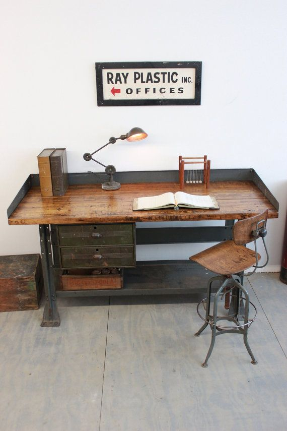 Vintage Industrial Workbench/ Kitchen Island/ Desk/ Toledo Stool/ Edon light - 1940s & Best 25+ Industrial workbench ideas on Pinterest | Industrial ... islam-shia.org