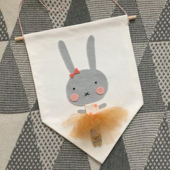 Banner de pared bailarina conejo lindo bandera de pared