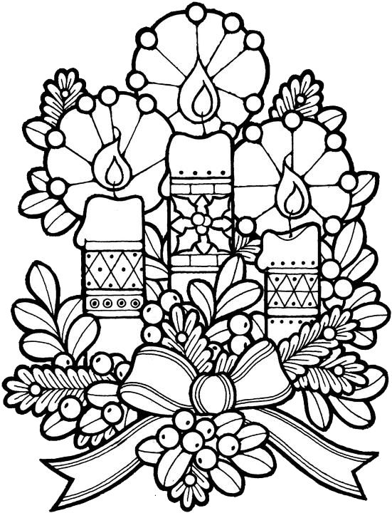 christmas candles coloring pages - Xmas Coloring Pages