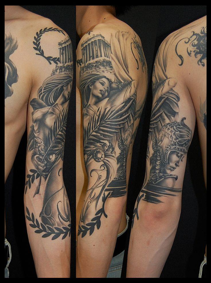 Nike and Athena tattoo, realistic tattoo, Greek Mythology ニケ アテナ タトゥー 刺青