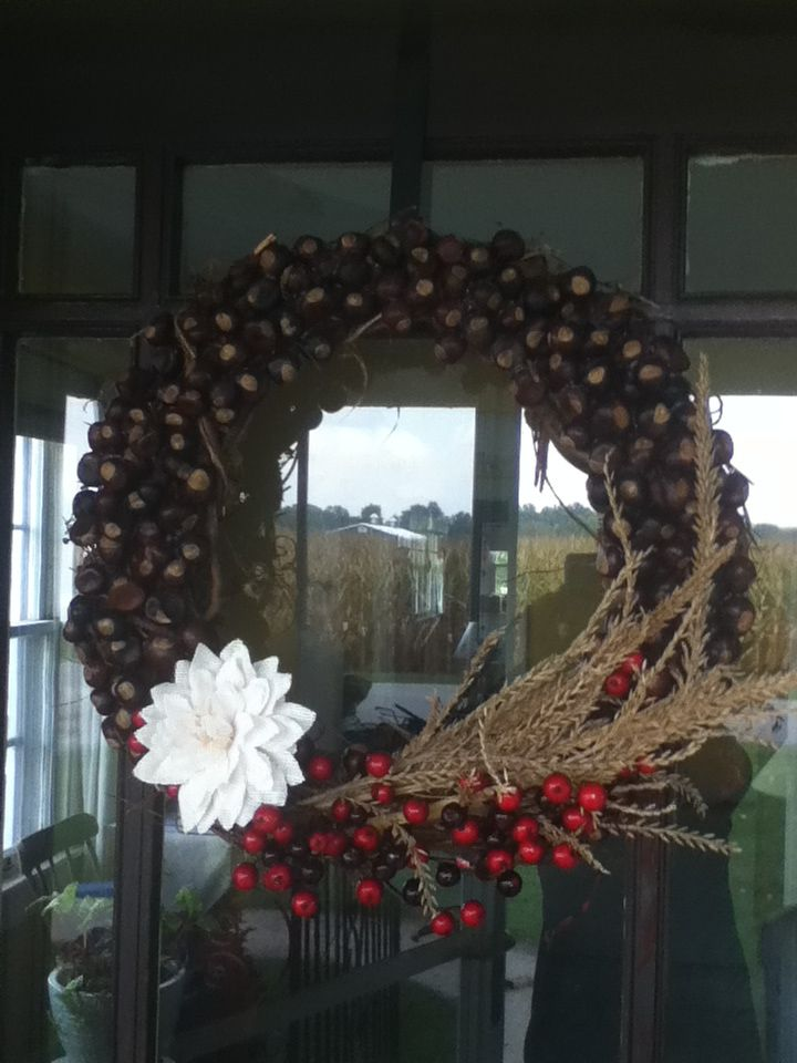 Buckeye wreath - now I know what to do with all those buckeyes from mom & dad's house!