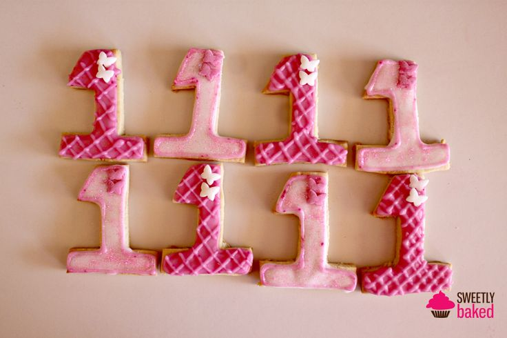 First Birthday decorated sugar cookies. Pink and Girly