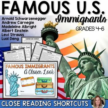 Famous Immigrants Close Reading Shortcuts Packet! $1.50