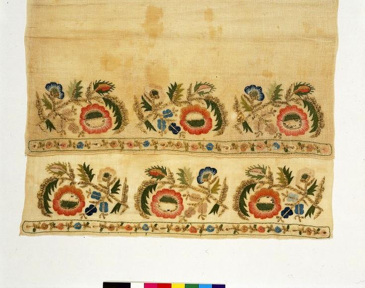 cotton worked in silk turkish 1800-1899Turkish Embroidery, Turkish 1800 1899, Turkish Stitches, Silk Turkish, Ottoman Towels, Blackwork Embroidery