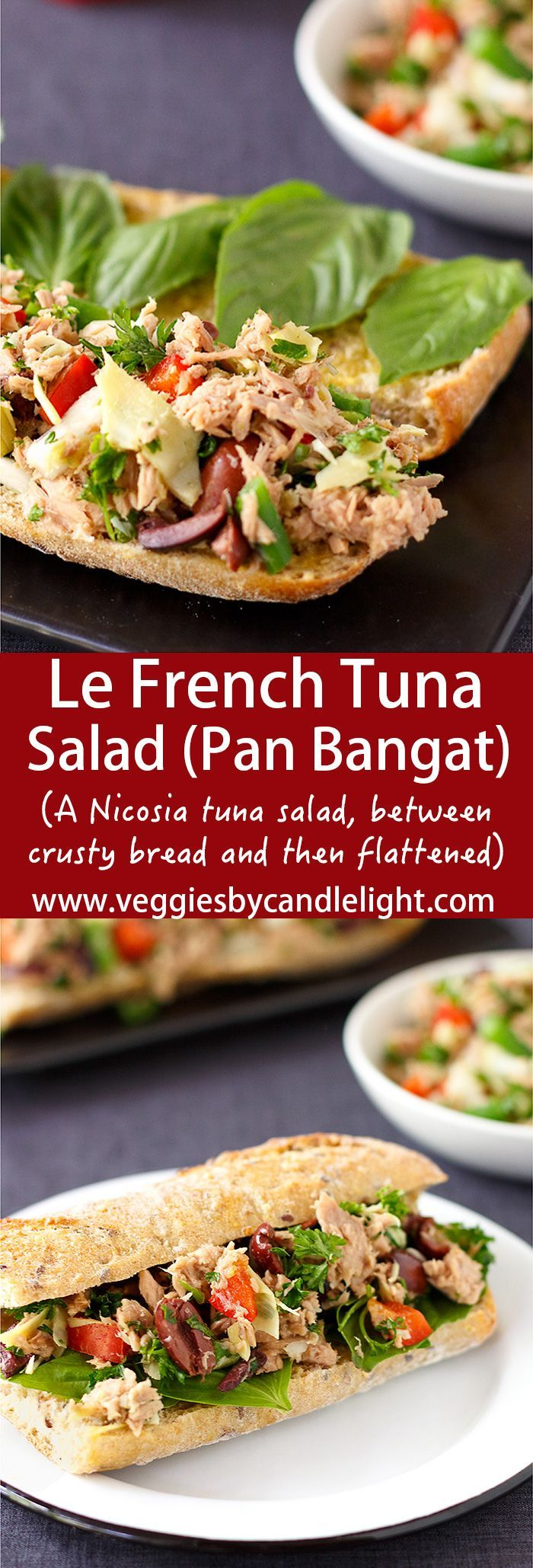 "Le French Tuna Salad (Pan Bagnat) - Pan Bagnat (or ""bathed bread"") - A Nicosia tuna salad, between crusty bread that's been slicked with garlic & oil, flattened, & left in the fridge overnight"