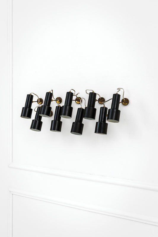 Anonymous; Enameled Metal and Brass Wall Lights, 1950s.