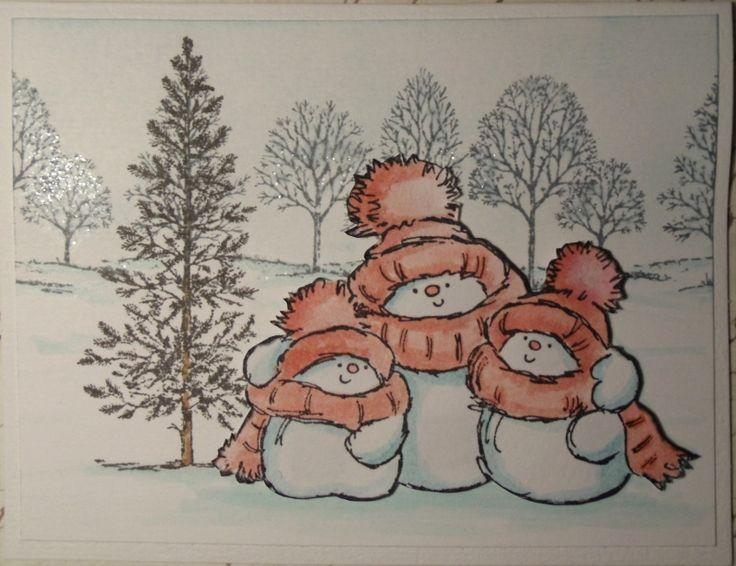 Penny Black - Weihnachtskarte  Nach einigen mehr oder weniger misslungenen Versuchen - hier nun ein vorzeigbares Ergebnis einer mit Aquarellfarben colorierten Weihnachtskarte